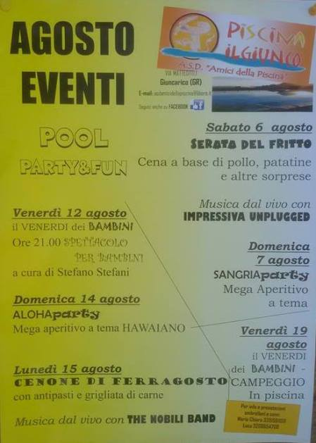 August 2016 - Events in the open air swimming pool in Giuncarico